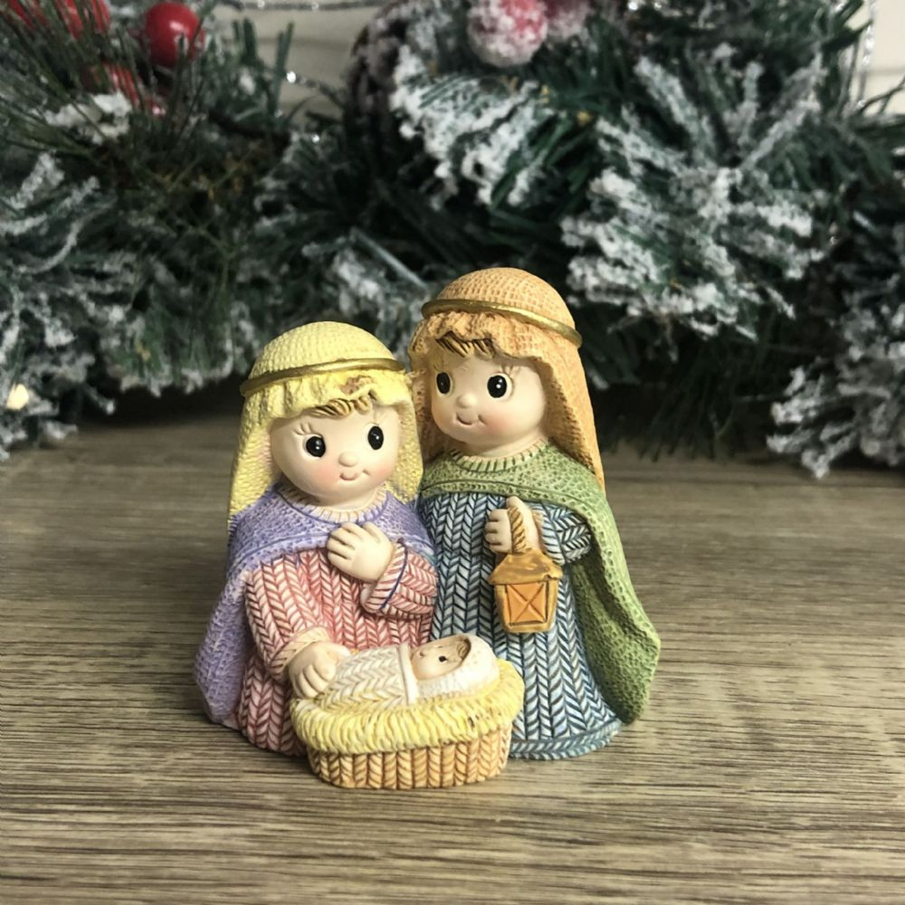 Mary Joseph and Baby Jesus in Crib Small Nativity Ornament